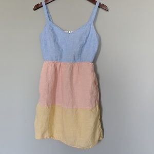 Cynthia Rowley Linen Rainbow Pastel Tier Dress